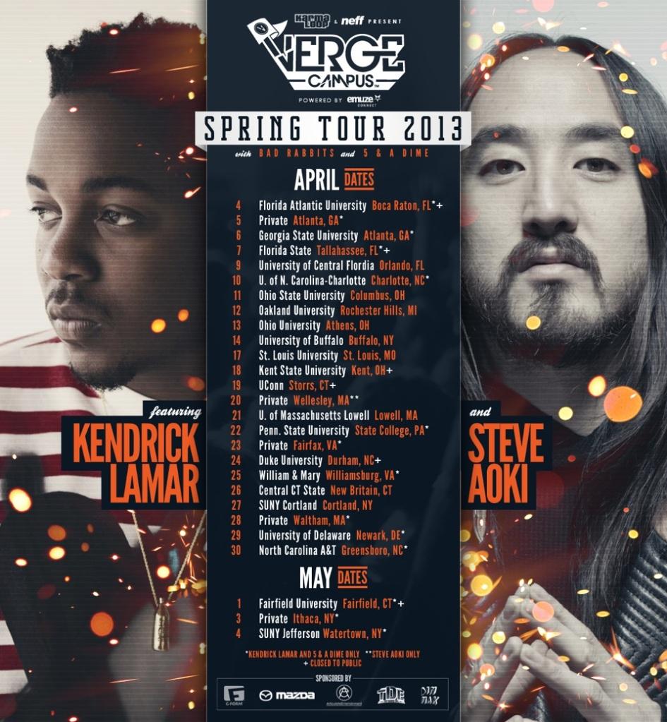 Verge Campus Spring Tour 2013 featuring Kendrick Lamar & Steve Aoki