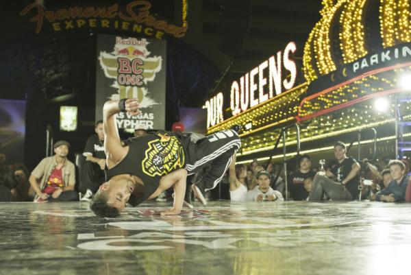 B-boy Lil Rock flexin' skills at the Red Bull BC One Las Vegas cypher