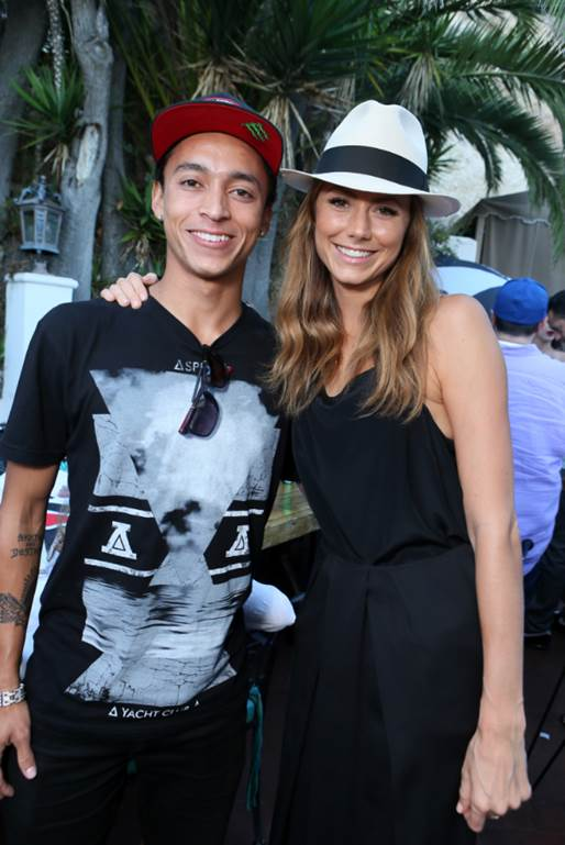 Nyjah Huston and Stacy Kiebler at the Asphalt Yacht Club launch party in Malibu