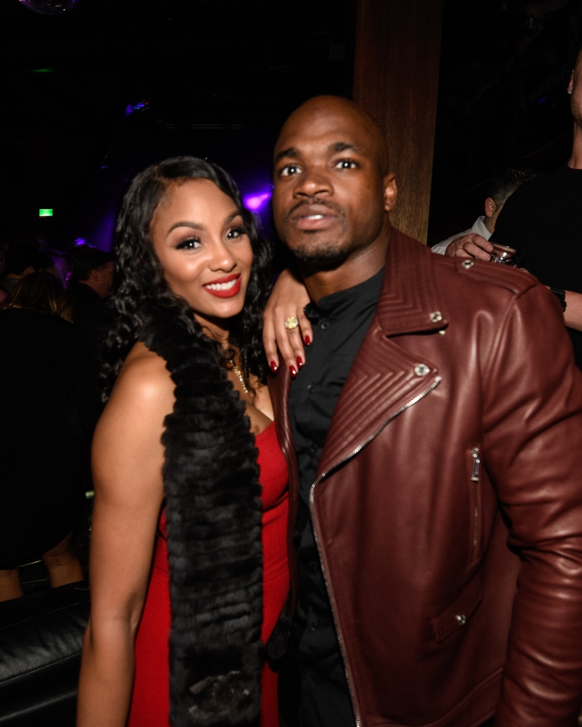 SAN FRANCISCO, CA - FEBRUARY 05: Adrian Peterson (R) and Ashley Brown attend the Marquee Takeover at Verso - Big Game Weekend presented by Hennessy V.S - Day 2 on February 5, 2016 in San Francisco, California. (Photo by Noel Vasquez/Getty Images for MHUSA)