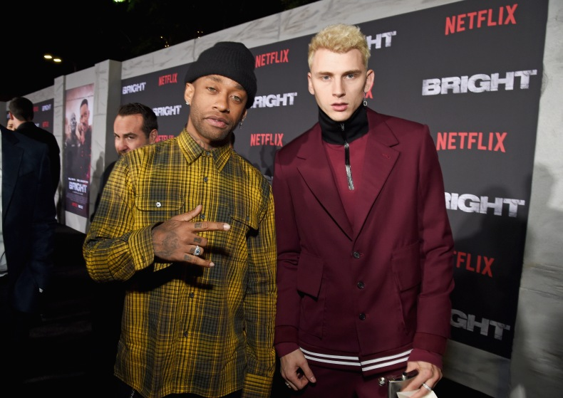 Ty Dolla Sign (L) and Machine Gun Kelly attend the LA Premiere of Netflix Films 'BRIGHT' on December 13, 2017 in Los Angeles, California.