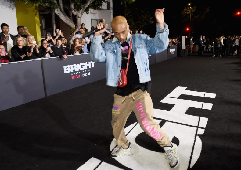 Jaden Smith attends the LA Premiere of Netflix Films 'BRIGHT' on December 13, 2017 in Los Angeles, California.