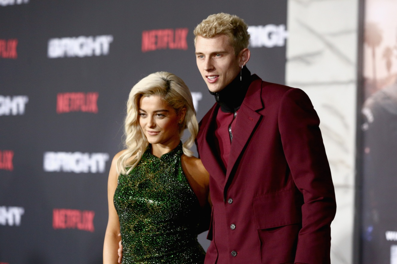 Bebe Rexha (L) and Machine Gun Kelly attend the LA Premiere of Netflix Films 'BRIGHT' on December 13, 2017 in Los Angeles, California.