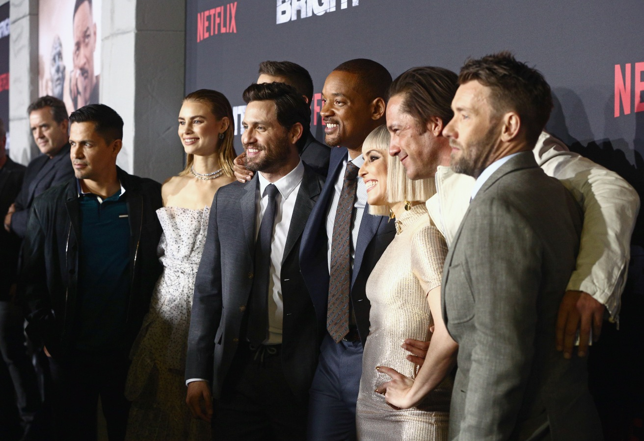 (L-R) Jay Hernandez, Lucy Fry, Edgar Ramirez, Will Smith, Noomi Rapace, Enrique Murciano and Joel Edgerton attend the LA Premiere of Netflix Films 'BRIGHT' on December 13, 2017 in Los Angeles, California.