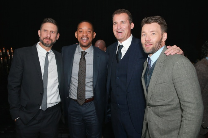 (L-R) David Ayer, Will Smith, Head of Original Films at Netflix Scott Stuber, and Joel Edgerton attend the LA Premiere of Netflix Films 'BRIGHT' on December 13, 2017 in Los Angeles, California.