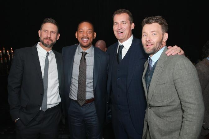 (L-R) David Ayer, Will Smith, Head of Original Films at Netflix Scott Stuber, and Joel Edgerton attend the LA Premiere of Netflix Films 'BRIGHT' on December 13, 2017 in Los Angeles, California.