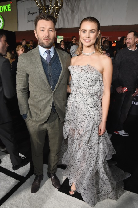 Joel Edgerton (L) and Lucy Fry attend the LA Premiere of Netflix Films 'BRIGHT' on December 13, 2017 in Los Angeles, California.