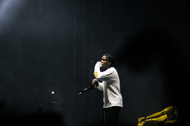 ASAP Rocky gets the crowd going at the CAMP stage.