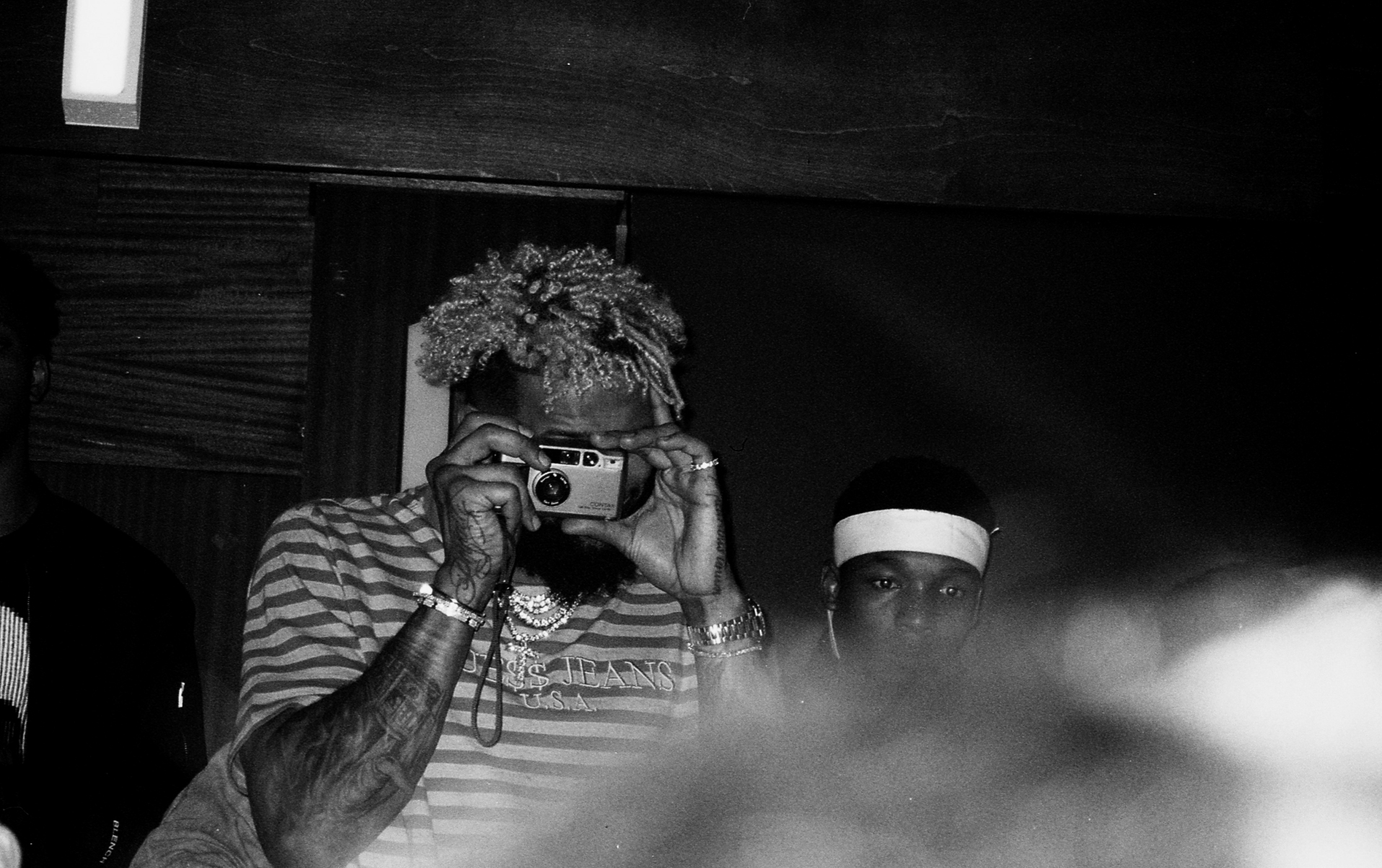Odell taking a photo of the crowd. GOAT x Harden Party 2018